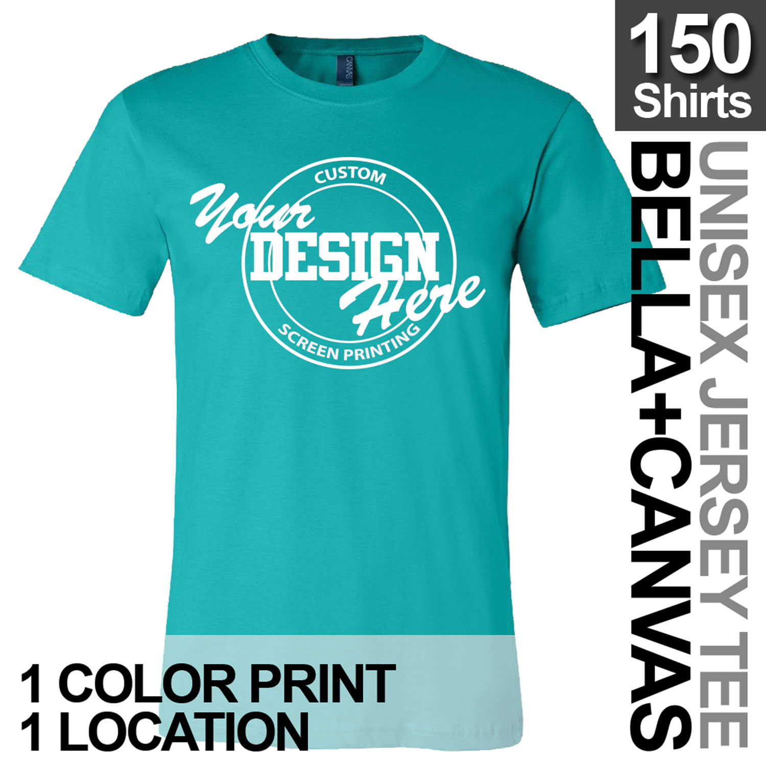 39c7dedb3 1 Print Color, 1 Location - Choose one (Left Chest, Right Chest, Full Front,  Full Back, Left Sleeve and/or Right Sleeve)